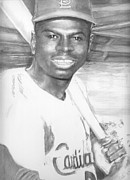 Then Drawings - Lou Brock by Carliss Mora