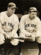 Yankees Prints - Lou Gehrig and Babe Ruth Print by Bill Cannon
