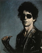 Musicians Tapestries - Textiles Originals - Lou Reed Black Velvet Painting by Diane Bombshelter