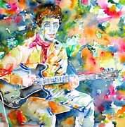 Les Paul Gibson Framed Prints - LOU REED playing the GUITAR - watercolor portrait Framed Print by Fabrizio Cassetta