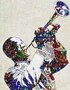 Sounds Digital Art Prints - Louie Armstrong 2 Print by Jack Zulli