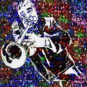 Sounds Digital Art Prints - Louie Armstrong Print by Jack Zulli