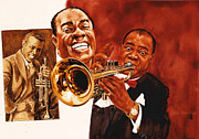 Trumpeters Framed Prints - Louis Armstrong Framed Print by Dick Bobnick