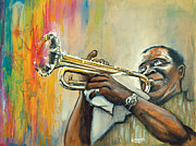 Dipper Framed Prints - Louis Armstrong Framed Print by Edward Draganski