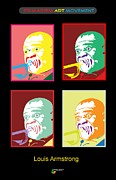 Jazz Singers Prints - Louis Armstrong Print by Herman Cerrato