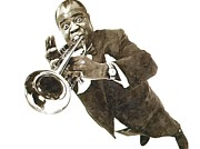 Jazz Drawings Prints - Louis Armstrong in Watercolor Print by Sanely Great