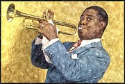 Louis Framed Prints - Louis Armstrong Painting Framed Print by Sanely Great