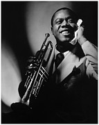 Black American Art Posters - Louis Armstrong Portrait Poster by Sanely Great
