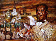 Jazz Painting Originals - Louis Armstrong by Yana Ranevska