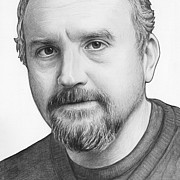 White Drawings - Louis CK Portrait by Olga Shvartsur