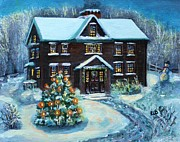 Snowy Evening Painting Posters - Louisa May Alcotts Christmas Poster by Rita Brown