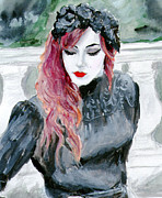 Flame Haired Posters - Louise in Black Flowers Poster by Sabina Mollot