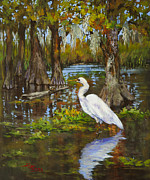 Shrimp Painting Originals - Louisiana Heron by Dianne Parks