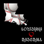 Abstract Map Posters - Louisiana Loves Baseball Poster by Andee Photography