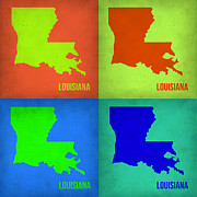 Louisiana Framed Prints - Louisiana Pop Art Map 1 Framed Print by Irina  March