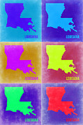 Louisiana Framed Prints - Louisiana Pop Art Map 2 Framed Print by Irina  March