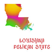 Abstract Map Prints - Louisiana State Map Collection 2 Print by Andee Photography