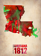 Map Art Digital Art Prints - Louisiana Watercolor Map Print by Irina  March