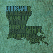 Louisiana Art Posters - Louisiana Word Art State Map on Canvas Poster by Design Turnpike