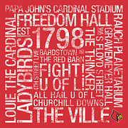 Hall Photo Posters - Louisville College Colors Subway Art Poster by Replay Photos