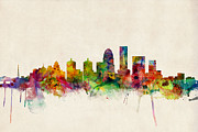 Urban Watercolor Digital Art Prints - Louisville Kentucky City Skyline Print by Michael Tompsett