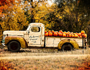 Woman Artist Framed Prints - Loukonen Farms Pumpkin Truck Framed Print by Catherine Fenner