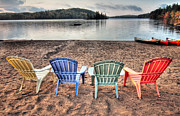 Summer Garden Scene Posters - Lounging Muskoka Style Poster by James Wheeler
