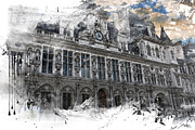 Invalids Prints - Louvre in a Splash Print by Evie Carrier