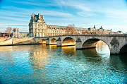 Pont Des Arts Posters - Louvre Museum and Pont Royal - Paris  Poster by Luciano Mortula