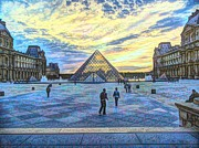 Louvre Digital Art - Louvre Plaza at Sunset by Lilian Norris