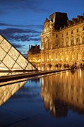 Glass Reflecting Prints - Louvre Reflections Print by Brian Jannsen