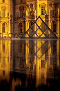 Glass Reflecting Metal Prints - Louvre Sunset Metal Print by Brian Jannsen