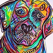 Canine Mixed Media Prints - Lovable Lab Print by Eloise Schneider