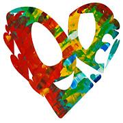 Love 12- Heart Hearts Romantic Art Print by Sharon Cummings