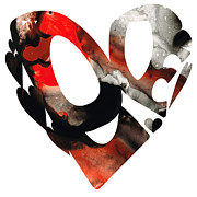 Heart Mixed Media Posters - Love 18- Heart Hearts Romantic Art Poster by Sharon Cummings