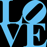 Love Statue Prints - LOVE 20130707 Blue Black Print by Wingsdomain Art and Photography
