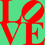 Love Sculpture Digital Art Posters - LOVE 20130707 Red Green Poster by Wingsdomain Art and Photography