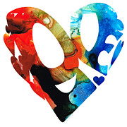 Love 8 - Heart Hearts Romantic Art Print by Sharon Cummings