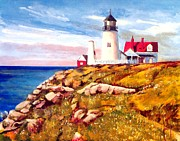 Pemaquid Lighthouse Painting Framed Prints - Love a White Lighthouse Framed Print by Jim Phillips