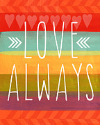 Stripes Mixed Media Posters - Love Always Poster by Linda Woods