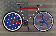 Fixed Gear Posters - Love America Bike Poster by Andy Scullion