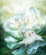 Lovebird Posters - Love  Among The Peonies Poster by Carol Cavalaris