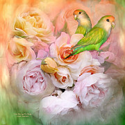 Love Bird Prints - Love Among The Roses Print by Carol Cavalaris
