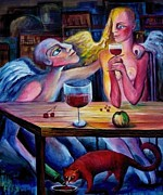 Night Angel Paintings - LOVE and FRIENDSHIP by Elisheva Nesis