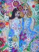 Vines Paintings - Love And Peace by Kimberly Van Rossum