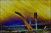 Engagement Photo Prints - Love at Cupids Span San Francisco bay bridge Print by LeeAnn McLaneGoetz McLaneGoetzStudioLLCcom
