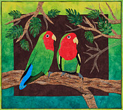 Bird Tapestries - Textiles Prints - Love At First Sight Print by Patty Caldwell
