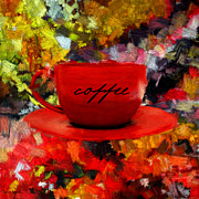Red Cup Coffee Posters - Love At First Sip Poster by Lourry Legarde