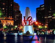 Urban Tapestries Textiles Prints - LOVE at Night Print by Nick Zelinsky
