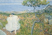 Neo-impressionism Prints - Love at the Fountain of Life or Lovers at the Sources of Life Print by Giovanni Segantini